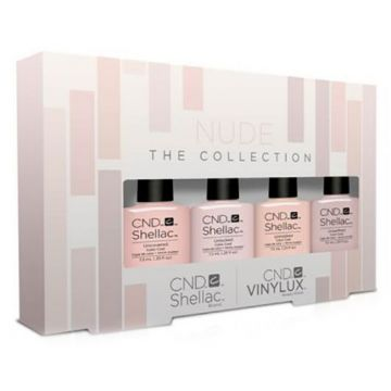 Display lac unghii CND Shellac & Vinylux Nude Collection 4x7.3ml & 4x15ml