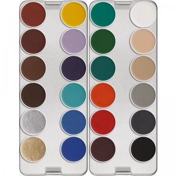 Paleta make up Kryolan Aquacolor K 24 culori pentru fata si corp 80ml